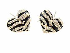 Fashion Earrings Boho Festival Party Boutique Black Gold Bling Heart Stud Luxury