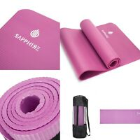 Yoga Mat for Pilates Gym Exercise With Carry Strap 10mm Thick NBR Foam - Pink