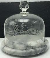1893 Chicago Fair Expo Horticultural Building Glass Dome Cheese Cloche Souvenir