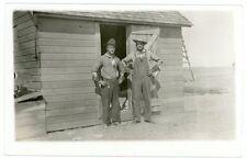 RPPC - 2 Cowboys/Farmers with Gauntlets, Neckerchiefs- J.I. Case Eagle Watch Fob