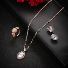 Stylish Elegant Women Rose Gold Crystal Necklace Ring Earring Jewelry Gift Set