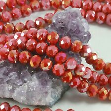 36 pcs 10mm Chinese Crystal Glass Loose Beads Faceted Rondelle Red Agate AB