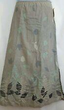 Portraits Northern Isles sz XL Maxi Long Skirt Gray Green Leaves Cotton NEW M15