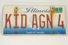"Licence Plate Illinois Personalized Vanity ""KID AGN 4"" Kid Again Mid-Life Crisis"