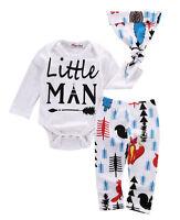 Newborn Baby Boys Girls Tops T-shirt +Pants Outfits Cotton Clothes Sunsuit Set