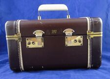 Vintage c.1950 Leather Accent Train Case Luggage Cosmetic Travel Case KEYS