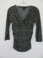 Ann Taylor V-Neck 3/4 Sleeve Top-Ruching on Sides -Black/Cream-Size XS -NWOT $55