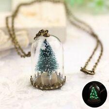 Charm Mann und Frau leuchtende echte Weihnachtsbaum Sitz Glas Flasche Halskette