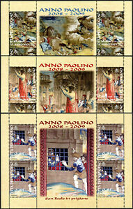 Vatican 1392-1394, Sheets of 4,MNH.St.Paul: Conversion,Preaching,Imprisoned,2008