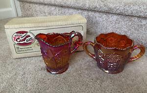 Indiana Glass Sugar & Creamer Carnival Glass Heirloom Sunset Amberina w/Box