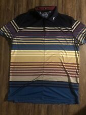 J LINDBERG Blue Striped Golf Polo Shirt MENS Size XL REGULAR FIT RARE