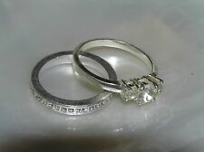 Estate Lot of Clear Rhinestone Encrusted Thin Band & Three Round Silvertone Ring