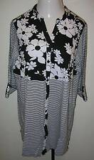NEW ULLA POPKEN Happy Pairings Knit Tunic Top Black White XL 12 14 Ladies