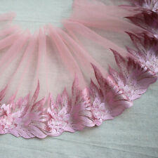"""8.66""""*2Yds  Pink Embroidered Tulle Lace Trim ,Mesh Embroidery Lace Trim"""