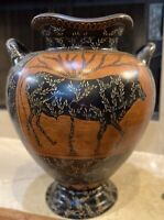 Vintage, Maitland Smith, Heavy Floor Urn w/Handles, Steer Artwork w/Floral Vines