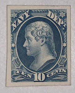 Travelstamp: US Stamps Scott #O40P4 10c Navy Department Proof on Card