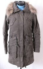 Eddie Bauer Insulated Military Faux Fur Hood Trench Jacket Coat Men's M