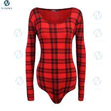 Womens Bodysuit Long Sleeve Stretch Jersey Leotard lot Party Girl Top Red Tartan