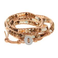 Jasper Tan Leather Wrap Bracelet Organic Arm Candy Adjustable Amazonite Picture