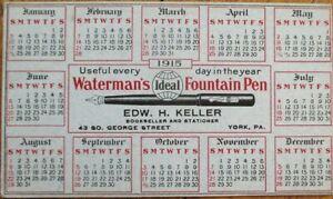 Waterman's Fountain Pen 1915 Advertising Blotter w/Calendar - York, PA