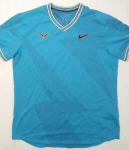 Nike Court AeroReact Rafa Nadal Men's Tennis Shirt Blue AQ7660-433 Size Large