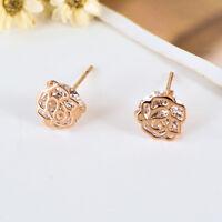 New 18K Rose Gold Filled Filigree 8MM CRYSTAL Rose Flower Stud Earrings Jewelry