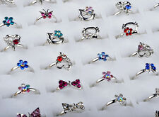 20pcs Wholesale Mix Lots Cute Crystal Children Kids Silver Adjustable Rings