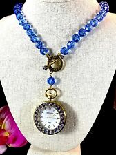 HEIDI DAUS 'TIMING IS EVERYTHING' SAPPHIRE BEAD NECKLACE BRASS WATCH FOB PENDANT