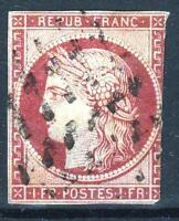 "FRANCE STAMP TIMBRE N° 6 b "" CERES 1F CARMIN FONCE 1849 "" OBLITERE A VOIR  M647"