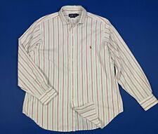 Ralph Lauren camicia uomo usato a righe 17 XL bianco cotone manica lunga T5926