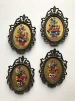 Picture Frames Vintage Floral 4 Mini Hand Painted Ornate Brass Lot Made in Italy