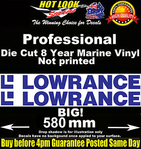Lowrance Decals x2 HUGE 580mm Wide stickers for boat fishing tackle box fridge