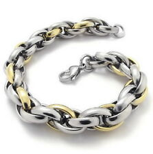 "MENDINO 9"" Men's Polished Link 316L Stainless Steel Bracelet Silver Gold Tone"