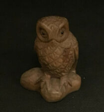 """More details for japanese netsuke """"owl"""" carved wooden figure wisdom, intelligence and protection"""