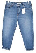 Topshop Boyfriend HAYDEN Blue Tapered CROP Jeans Size 14 W32 L30