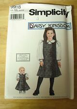 Daisy Kingdom Simplicity Pattern #9918 Girl's Size 3-6 & doll UNCUT