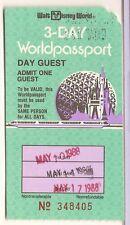 1988 Walt Disney World 3 day world passport Ticket Stub