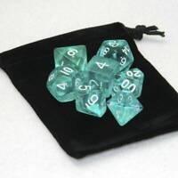 Polyhedral 7-Die Borealis Chessex Dice Set - Teal +Free Dice Bag