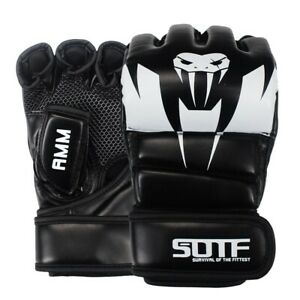 MMA UFC Fighting Leather Boxing Gloves Muay Thai Training Sparring Gloves Black