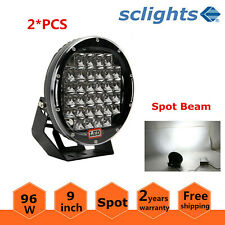 2X 9'' 96W Black Round Led Driving Spot Work Light 4WD Offroad ARB VS Hid 100W