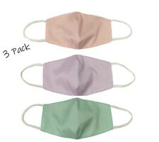 Girl's 3 Pack of Washable and Reusable Organic Cotton Double Layer Face Masks