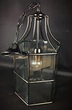 Superbe suspension lustre lanterne verres biseautés châssis métal aspect mercure