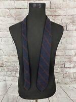 Polo By Ralph Lauren Mens 93% Cashmere 7% Wool Necktie Navy Blue Burgundy Stripe