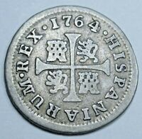 1764 Spanish Silver 1/2 Reales Piece of 8 Real Colonial Era Pirate Treasure Coin