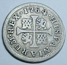 1764 Spanish Silver 1/2 Reales Genuine Antique 1700's Colonial Cross Pirate Coin
