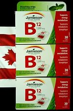 JAMIESON VITAMIN B12 1,000 MCG FAST DISSOLVING MINT STRIPS FOR ENERGY X 3 boxes