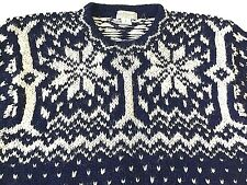 Mens Wool Fishermen Sweater Large Blue and White Nordic Fair Isle CARTE BLANCHE
