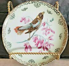Lipper and Mann Creation Bird & Flowers Plate Gold Scroll Hand Painted Japan