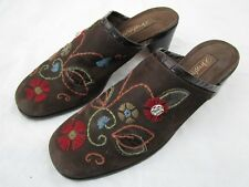 Brighton Fiona Women's Size 8M Brown Embroidery Floral Slip On Mule