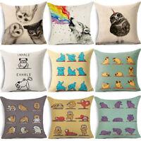 EG_ Animal Print Linen Throw Pillow Case Sofa Bed Home Car Decor Cushion Cover W